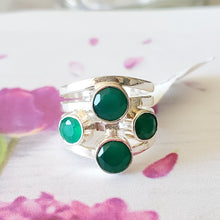 Load image into Gallery viewer, Size 6 US, Green Onyx Ring, Onyx Ring, Solid Silver Ring, Designer Ring, Gemstone Ring, Round Ring, Gift For Her, Gift Idea, Code 040420