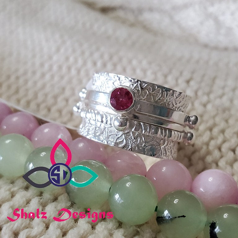 Pink Topaz Ring, Topaz Ring, Unique Ring, Spinner Ring, Thumb Ring, 925 Silver Ring, Sterling Silver Ring, Boho Ring, Rings, Size 9US, Z519