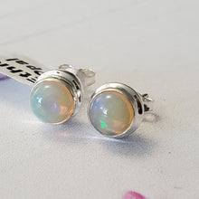 Load image into Gallery viewer, Ethiopian opal Stud, Natural Ethiopian opal Stud, Opal Stud, AAA Ethiopian opal Stud, Stud Earring, Opal Earring, Lightweight Stud, Z1103
