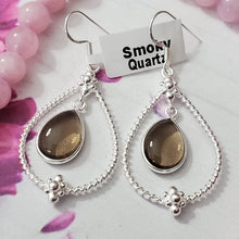 Load image into Gallery viewer, Sterling Silver Earring, 925 Silver Earring, Unique Earring, Dangle & drop Earring, Lightweight Earring, Gemstone Earring, Bezel Set Earring