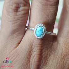 Load image into Gallery viewer, Genuine Larimar Ring, Larimar Ring, 925 Silver Ring, Pure 925 Silver Ring, Gift For Her, Lightweight Ring, Dainty ring,  Z61