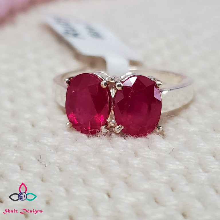 Pink Ruby Ring, Genuine Ruby Ring, Dainty Ring, Solid 925 Silver Ring, Anniversary Ring, Engagement Ring, Wedding Ring, Size 7US, Z513