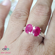 Load image into Gallery viewer, Pink Ruby Ring, Genuine Ruby Ring, Dainty Ring, Solid 925 Silver Ring, Anniversary Ring, Engagement Ring, Wedding Ring, Size 7US, Z513
