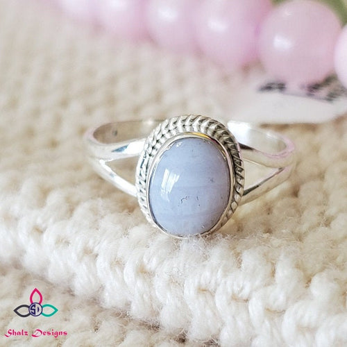 925 Pure Sterling Silver Cab Pear Blue Lace Agate Ring Beautiful Designs Wedding Gift