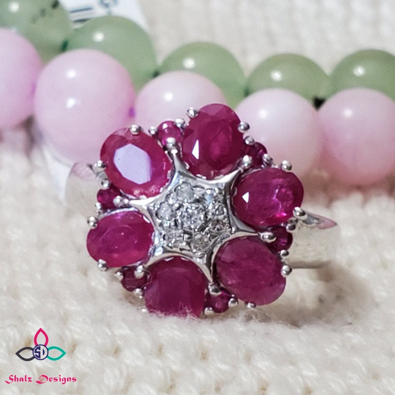 Stunning Flower Ruby Ring,  Ruby set in Sterling Silver, Cocktail Ring, Ruby and Diamond Ring, July Birthstone,  For Her, Size 7US, 618