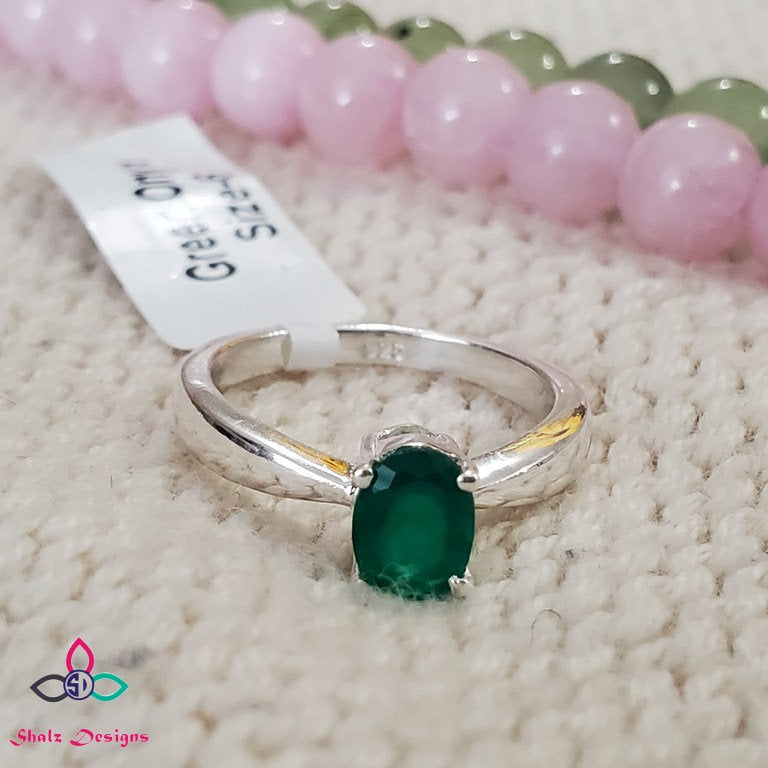Green Onyx Ring, Onyx Ring, Stacking Ring, 925 Silver Ring, Dainty Ring, Sterling Silver Ring, Women Ring, For Her, Size 6,7, 9US, Z630