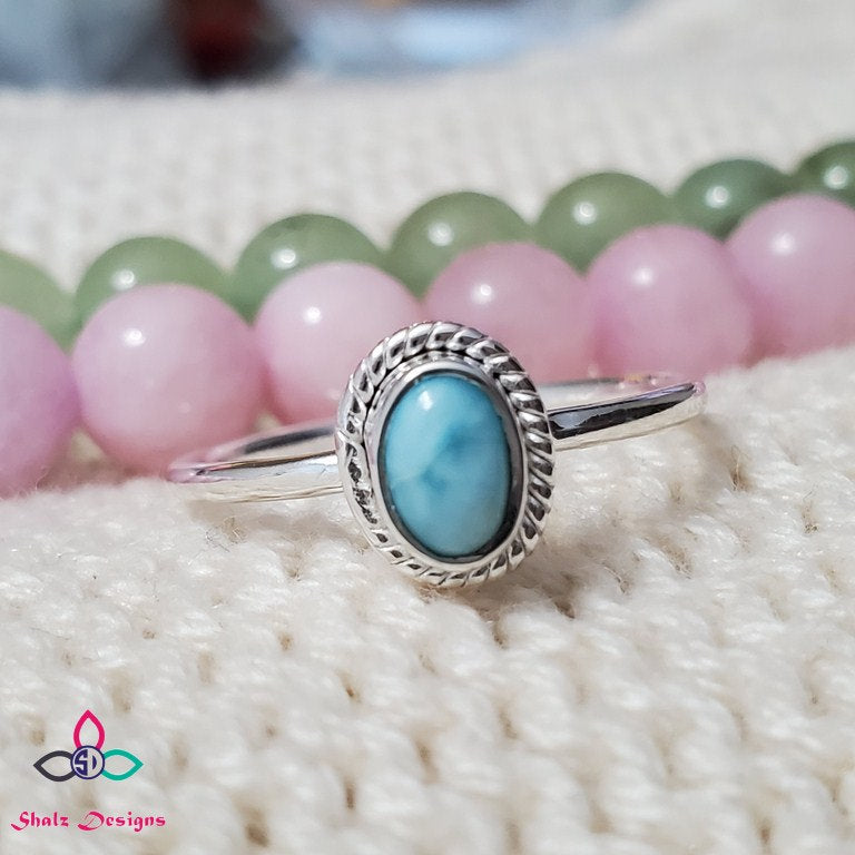 Genuine Larimar Ring, Larimar Ring, 925 Silver Ring, Pure 925 Silver Ring, Gift For Her, Lightweight Ring, Dainty ring,  Z61