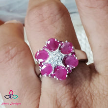 Load image into Gallery viewer, Stunning Flower Ruby Ring,  Ruby set in Sterling Silver, Cocktail Ring, Ruby and Diamond Ring, July Birthstone,  For Her, Size 7US, 618