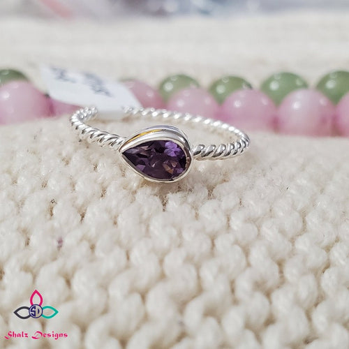 Genuine Amethyst Ring, Gemstone Ring, Sterling Silver Ring, Mother's Day, Birthday Gift, Friendship Day, Valentines Day, Ring Size 6US, Z73