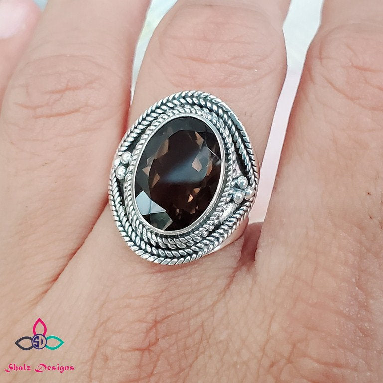 Smoky Quartz Ring, Quartz Ring, Silver Ring, Sterling Silver Ring, Black Friday, Canada Day, Birthstone Jewelry, Ring Size 8US, Z711