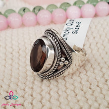 Load image into Gallery viewer, Smoky Quartz Ring, Quartz Ring, Silver Ring, Sterling Silver Ring, Black Friday, Canada Day, Birthstone Jewelry, Ring Size 8US, Z711