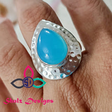 Load image into Gallery viewer, big Chalcedony Ring, Blue Chalcedony Ring, Gift For Her, Silver Ring, Designer Ring, Solid Silver Ring, Unique Ring, Size -9 US, z 816