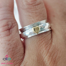 Load image into Gallery viewer, Silver Spinner Ring, Sterling Silver Spinning Ring, Hammered Silver Band, Fidget Ring, Stress Ring, Meditation Ring, Rings, Z729