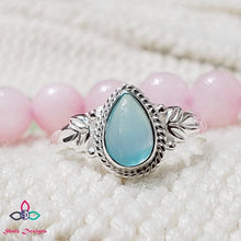 Load image into Gallery viewer, Blue Chalcedony Ring, Chalcedony Ring, Dainty Ring, 925 Silver Ring, Christmas Gift Idea, Birthday Gift , Pear Shape Ring,Size 7.5US,Z914