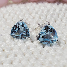 Load image into Gallery viewer, Smoky Quartz Earring, Smoky Stud , Blue Topaz studs, Amethyst triangle studs, Crystal quartz studs, Triangle studs,925 Solid Silver Earring