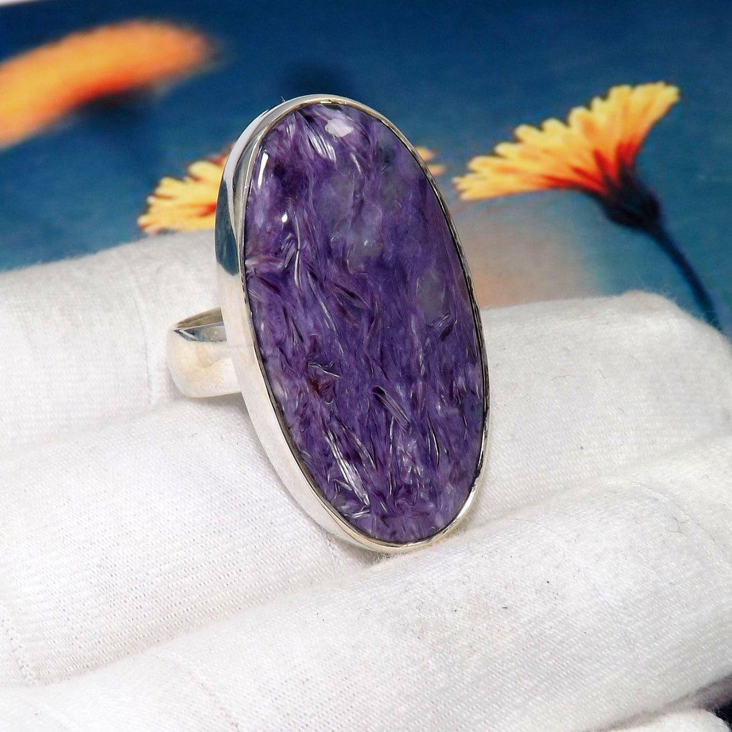 Charoite Ring, Charoite Gemstone Ring, 925 Silver Ring, Sterling Silver Ring, Huge Stone Ring, Black Friday Sale, Rings,Size 9US, Z1121