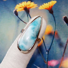 Load image into Gallery viewer, Genuine Larimar ring, Blue Larimar Ring, Handmade Ring, One of Kind ring, Larimar Gemstone Ring, Christmas Gift Idea, Rings Size 9US, Z1103