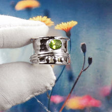 Load image into Gallery viewer, Peridot Gemstone Ring, Silver Band Ring, 925-Sterling Silver Ring, Spinner Ring, Antique Silver Ring,Peridot Thumb Ring, JPZ1212