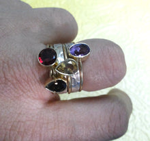 Load image into Gallery viewer, 925 Sterling Ring, Perfect Gift Ring, Gift For Her, 925 Sterling Silver and Brass Stack Rings with cut  Garnet, Citrine, Smokey and Amethyst