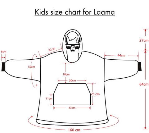 Kid's Size chart for Kids Hooded Blankets