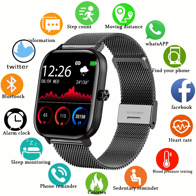 2020 New Color Screen Smart Watch Women men Full Touch Fitness Tracker Blood Pressure Smart Clock Women Smartwatch for Xiaomi