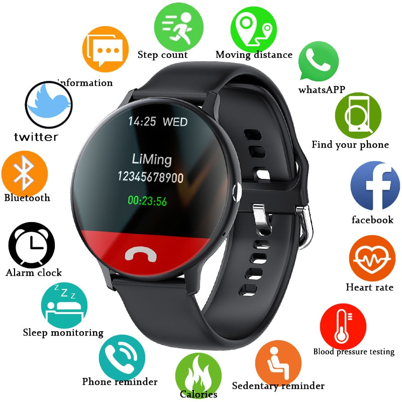 LIGE New Smart Bluetooth Call Watch Men Women Heart Rate Sports fitness tracker Bracelet Watch Man for Android IOS Xiaomi Huawei