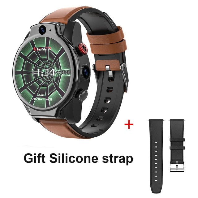 LEMFO LEM14 Smart Watch 4G 5ATM Waterproof Android 10 Helio P22 Chip 4G 64GB LTE 4G SIM 1100mAh Face ID 2021 Dual Camera for Men