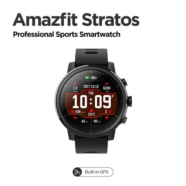 Original Amazfit Stratos Smartwatch Smart Watch Bluetooth GPS Calorie Count 50M Waterproof for Android iOS Phone