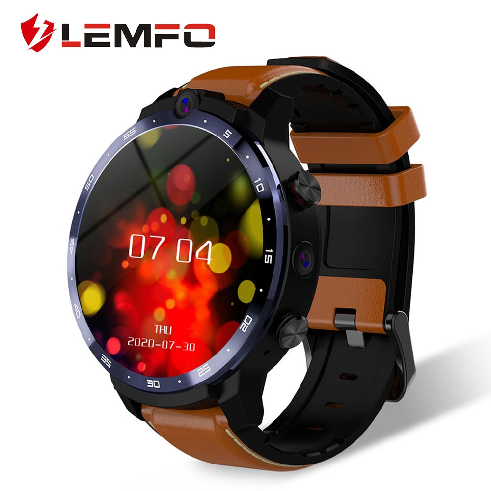 LEMFO LEM12 PRO Smart Watch Android 10 MT6762 CPU 4G 64GB LTE 4G Wireless Projection 900mAh Power Bank Face ID Dual Cameras Men