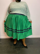 Load image into Gallery viewer, Eloquii Kelly Green Maxi Skirt with Navy Stripes, Size 26/28