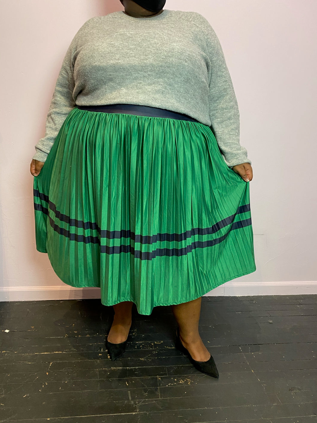 Eloquii Kelly Green Maxi Skirt with Navy Stripes, Size 26/28