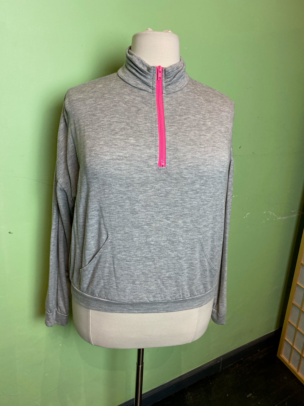 Gray Faux Turtleneck Fashion Nova Half-Zip, Size 2X