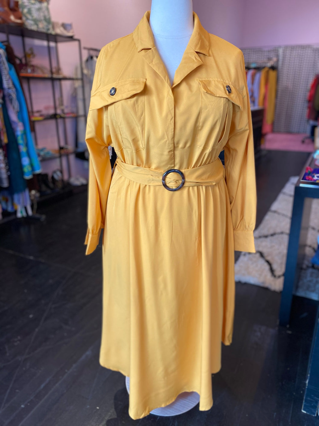 Mustard Yellow Trench-Style Dress with Tortoiseshell Details by SHEIN, Multiple Sizes!
