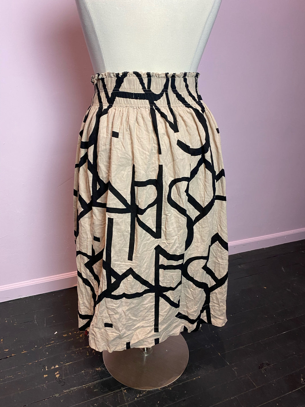 Tan Maxi Skirt with Black Letter Details by H&M, Size XL