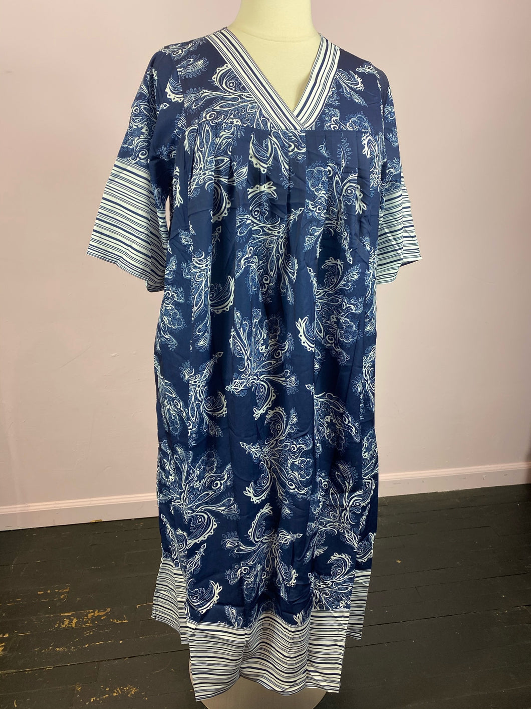Blue and White Paisley Print Caftan by SHEIN, Sizes 1X, 2X, 3X