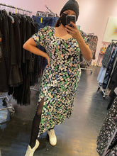 Load image into Gallery viewer, Black with Pastel Floral Print H&M Maxi Dress, Size XL