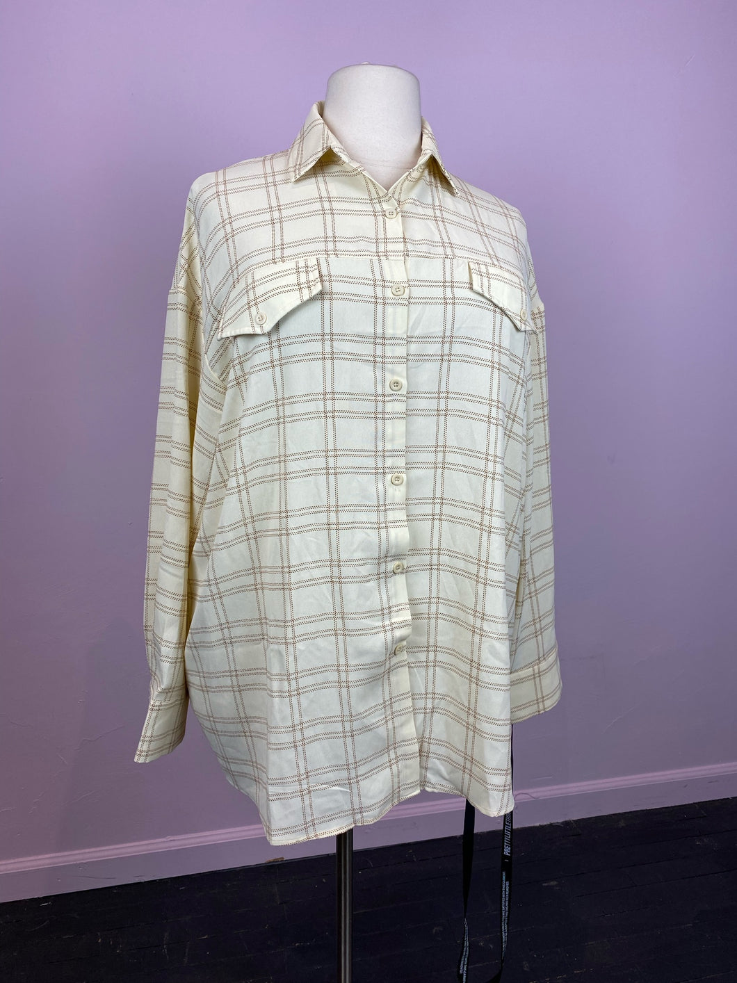 Cream and Gold Windowpane Plaid Oversize Button Up by Pretty Little Thing, Size 12