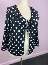 Load image into Gallery viewer, Black & White Polkadot Tie-Front Cardigan, Simply Be XL