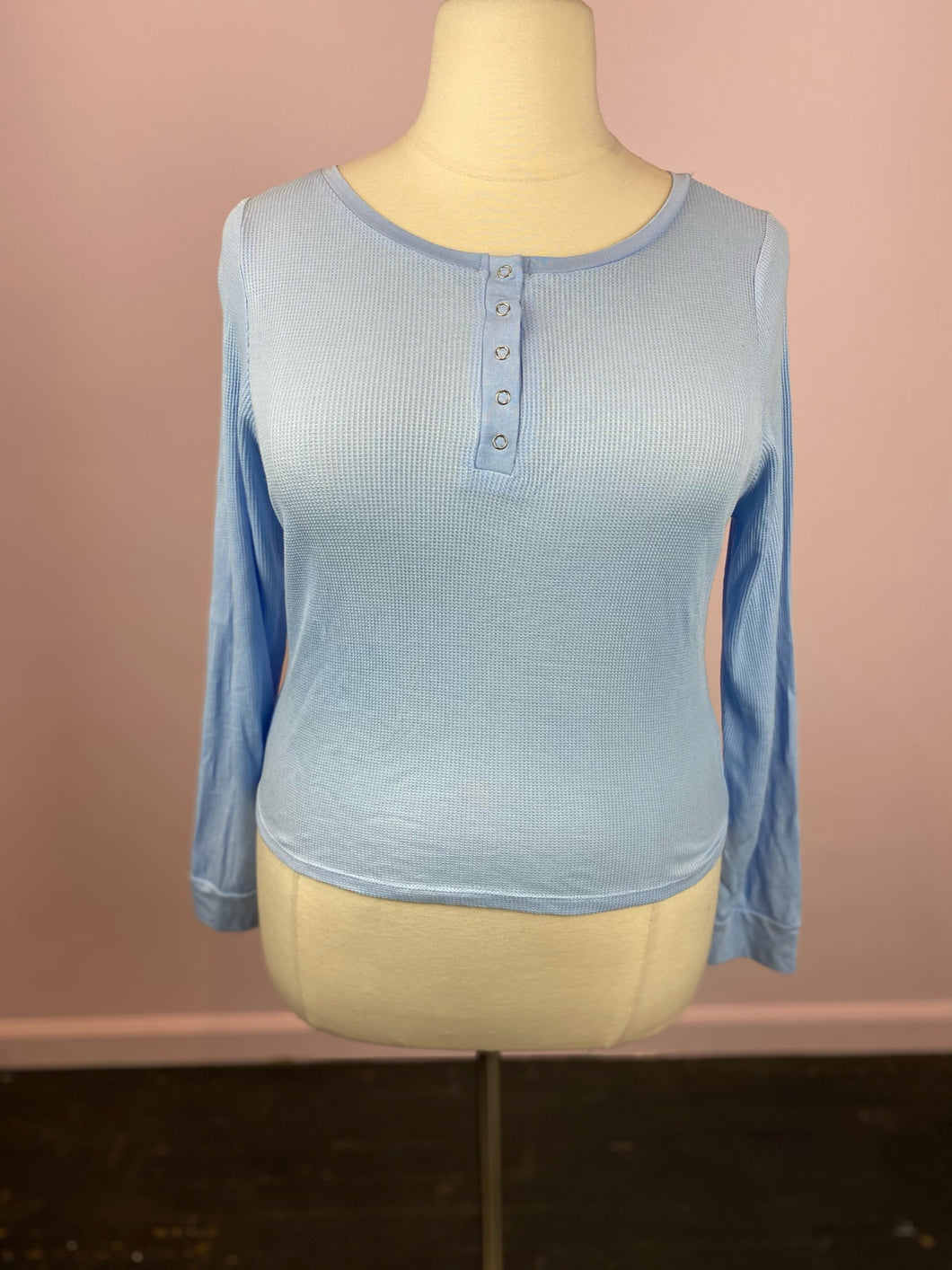 Baby Blue Long Sleeve Thermal Henley Shirt by Fashion Nova, Size 1X