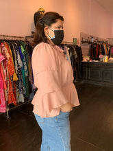 Load image into Gallery viewer, SHEIN Blush Pink Tiered Blouse with Pussybow Detail, Multiple Sizes!