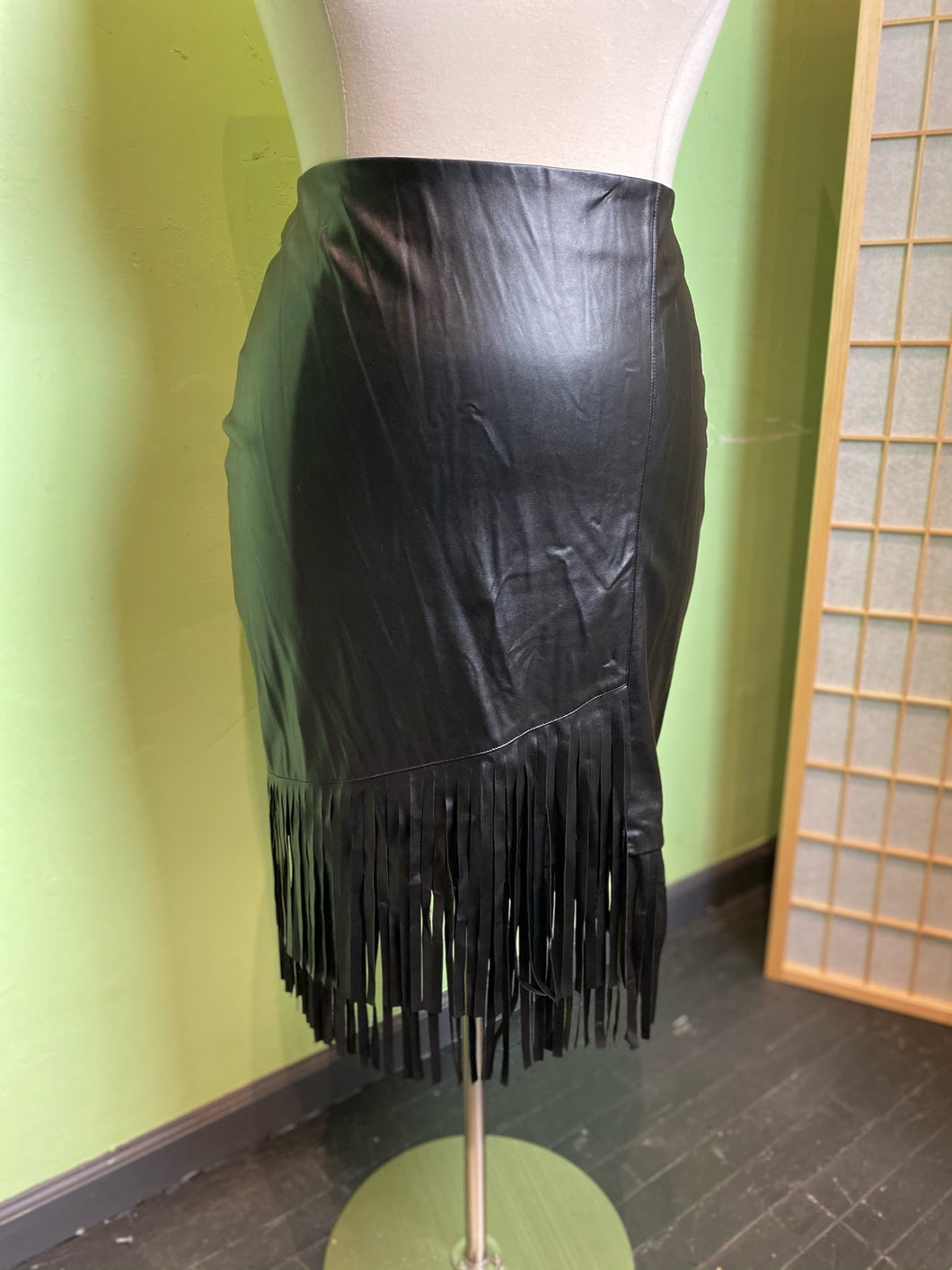 Eloquii Faux Leather Fringe Skirt, Size 16