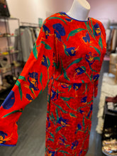 Load image into Gallery viewer, Vintage 80s Blouson Style Red Dress with Blue & Green Floral Pattern, Flora Kung 12