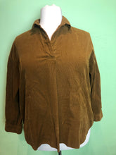 Load image into Gallery viewer, Tawny Brown Corduroy Long Sleeve Top by Uniqlo, Size 1X