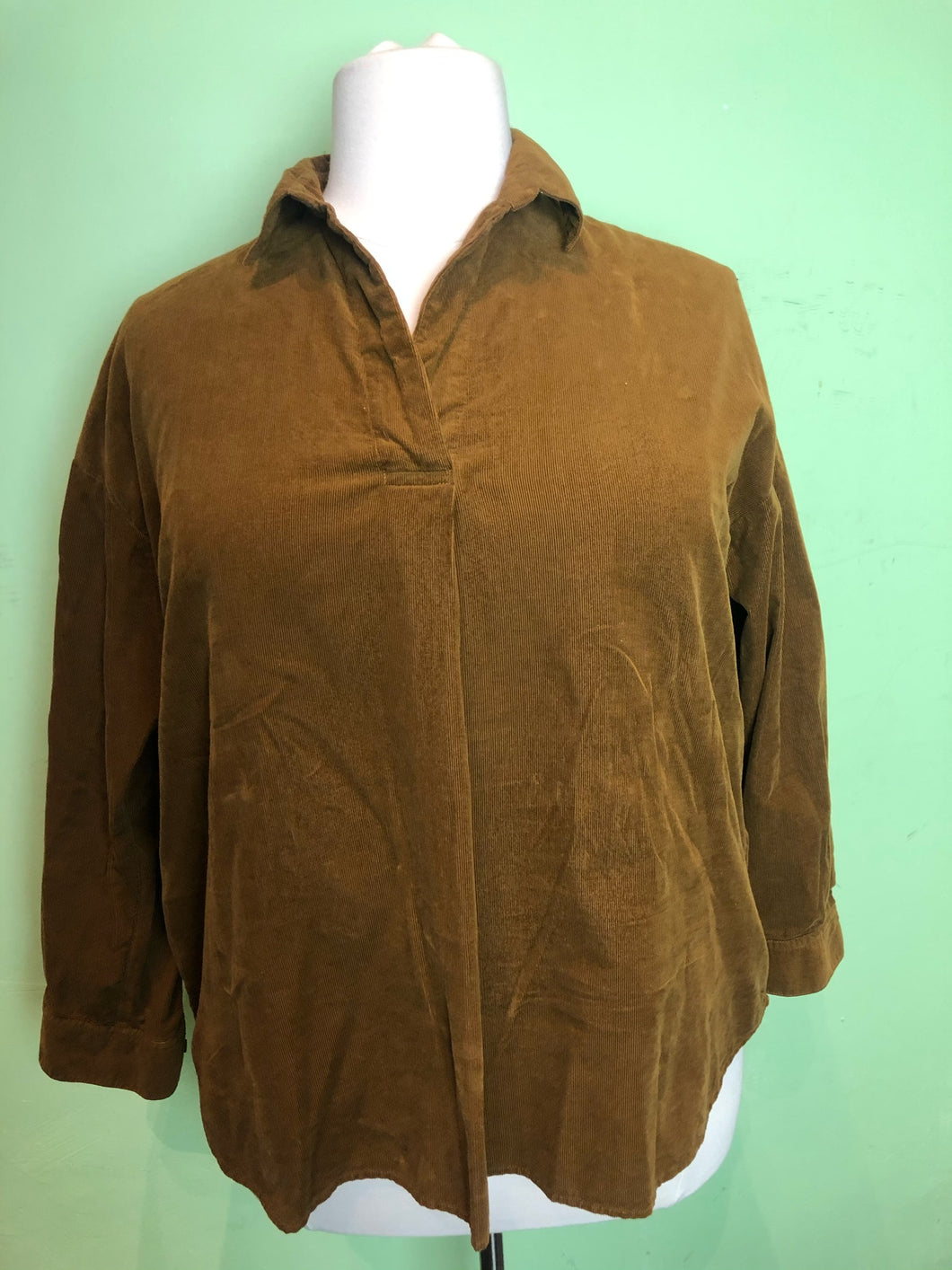 Tawny Brown Corduroy Long Sleeve Top by Uniqlo, Size 1X