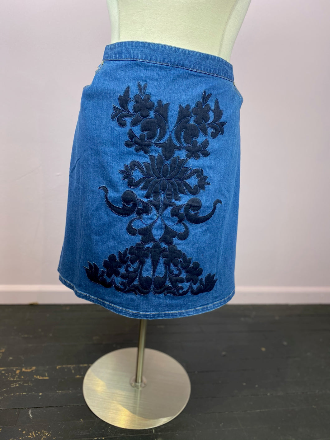 Denim Skirt with Appliqué by Eloquii, size 24