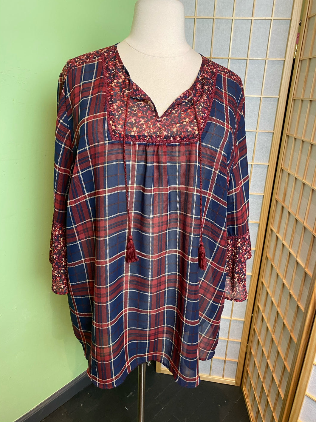 Catherine's Plaid and Lace Top, Size 3X