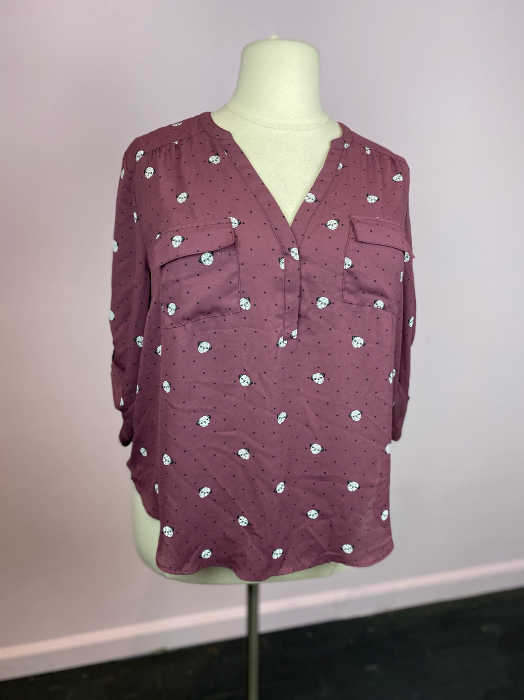 Plum Half-Button Up with Pug Heads and Polka Dots by Torrid, Size 1