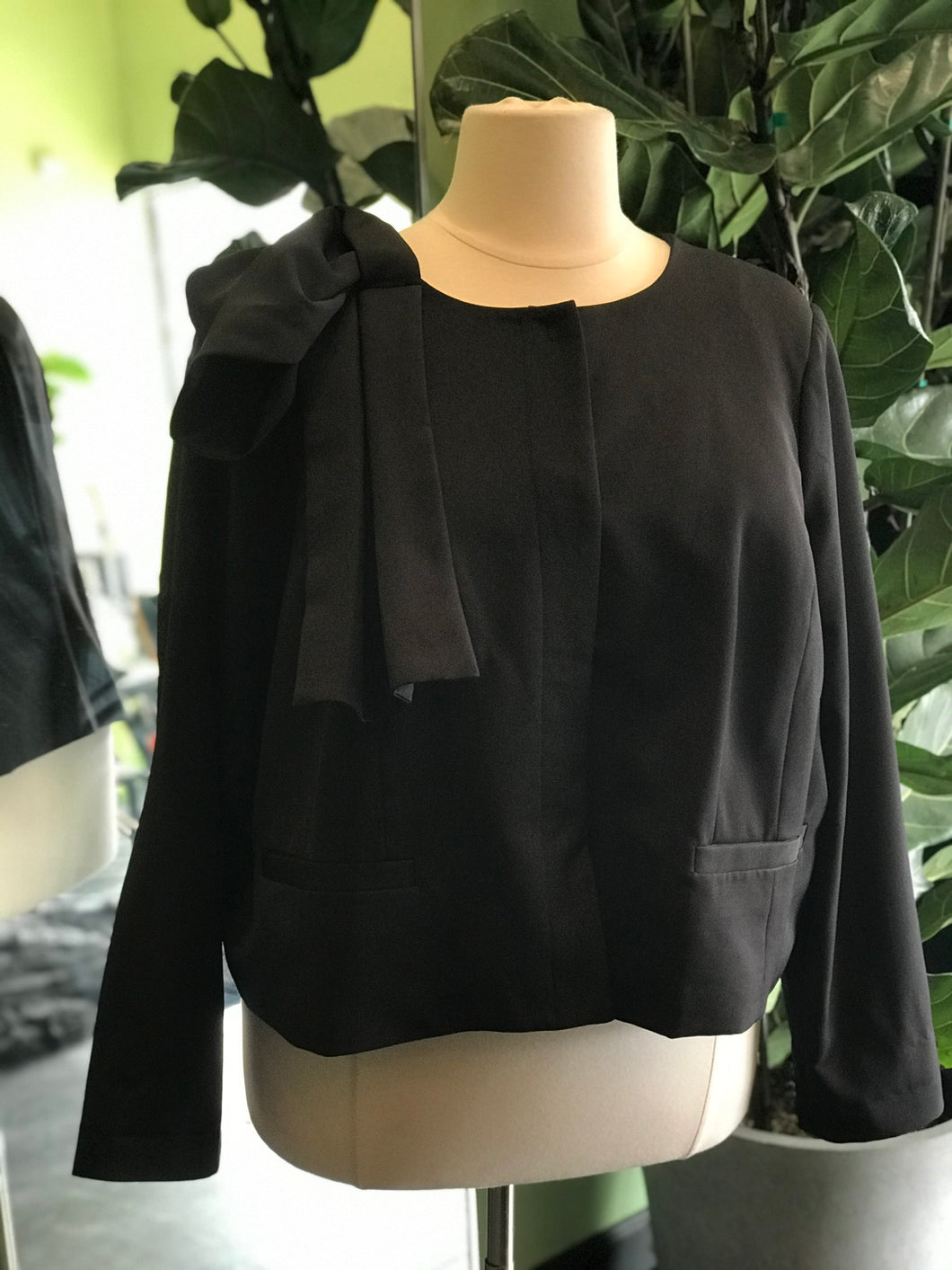 Black Blazer with Abstract Bow Detail on Shoulder by Eloquii, Size 26