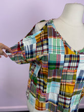 Load image into Gallery viewer, Short Sleeve Multi Color Multi Plaid Top by Kindom, Size XL