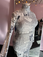 Load image into Gallery viewer, Long Sleeve Newsprint Bodycon with Turtleneck by Day & Night, Size 14/16